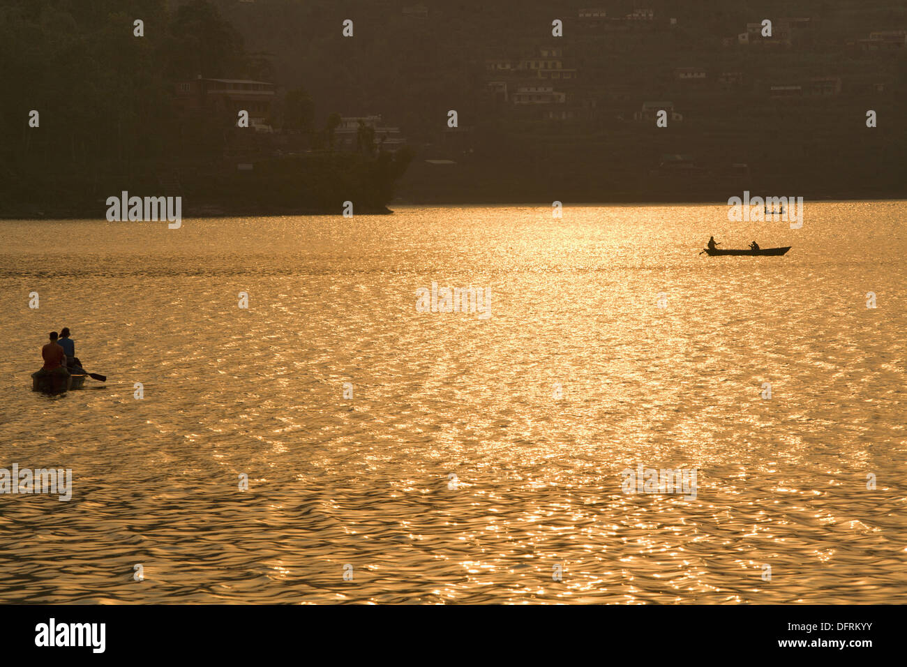 Beautiful view of Phewa lake, Pokhara, Nepal - Stock Image