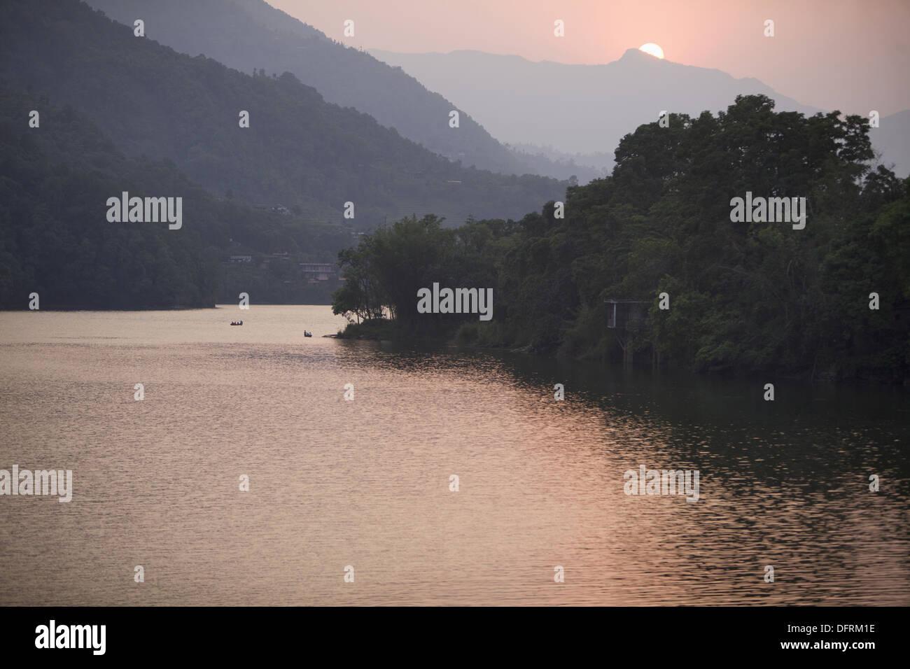 Beautiful view of Phewa lake, Pokhara, Nepal - Stock Image