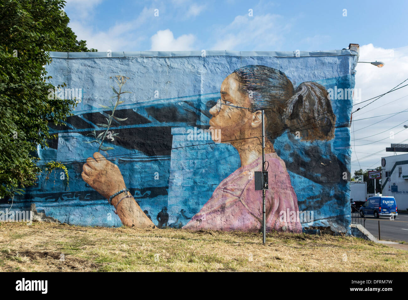 mural at Grays Ferry district, 34th and Wharton Streets, Philadelphia, PA, United States - Stock Image
