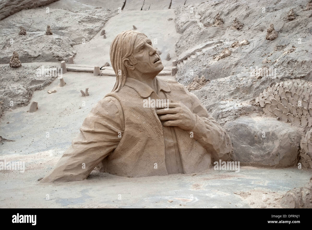 Sand sculpture on the city beach. - Stock Image