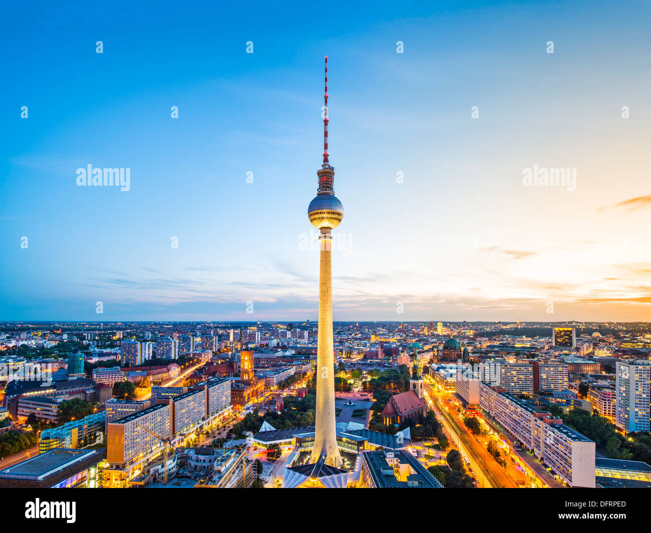 Berlin, Germany viewed from above the Spree River. Stock Photo