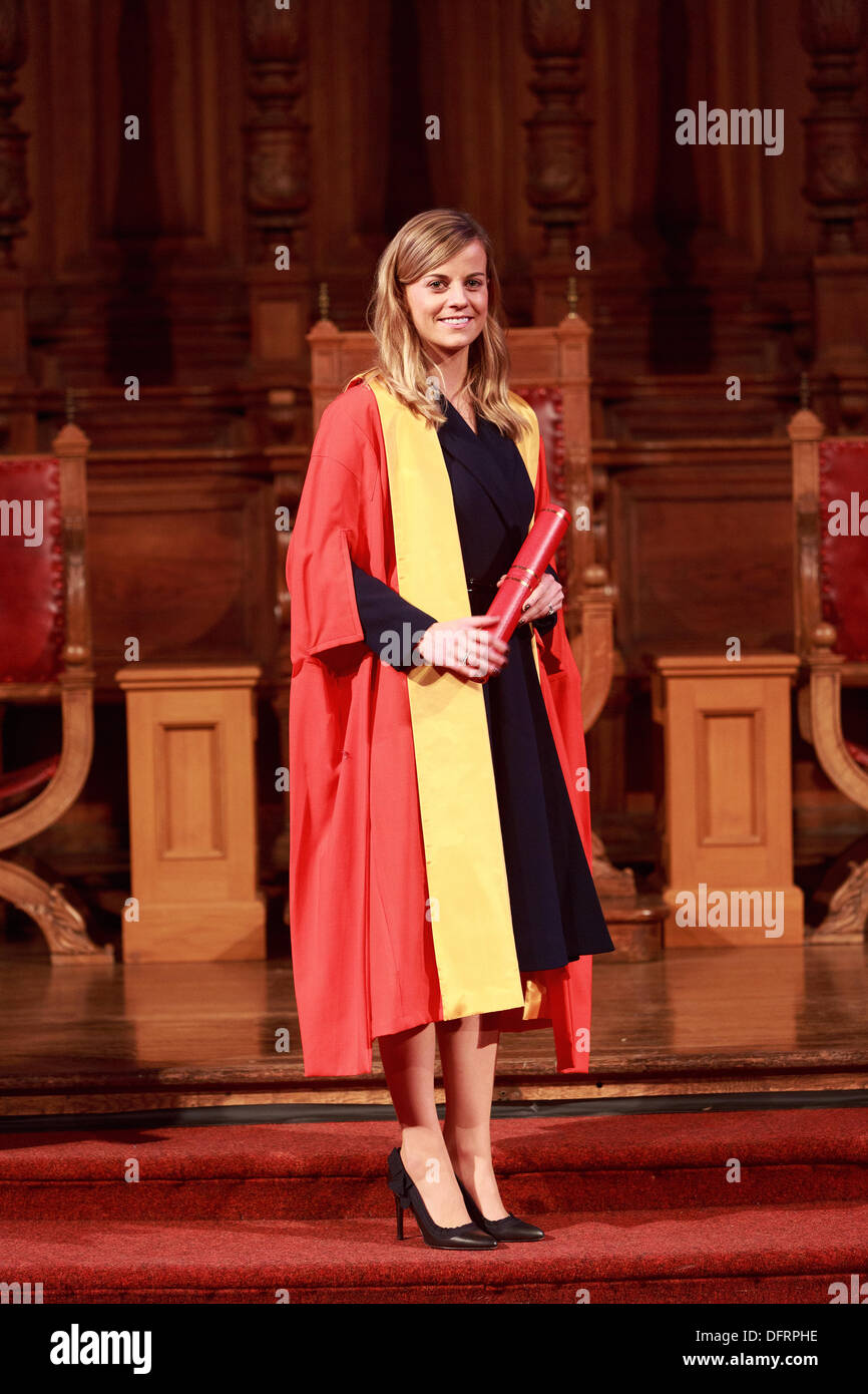 Famous Names from sport and cinema honoured by Edinburgh University. Five-time gold medalist Sir Steve Redgrave, tennis coach Judy Murray, Formula 1 racing driver Susie Wolff and film director Lynne Ramsay awared honorary degrees on 8th October 2013 Photos by Pako Mera/Alamy Live News - Stock Image