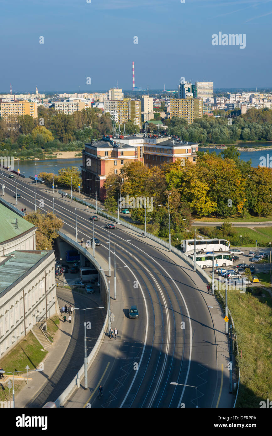Cityscape of Warsaw, Poland, Slasko-Dabrowski bridge. Praga district behind the vistula river - Stock Image