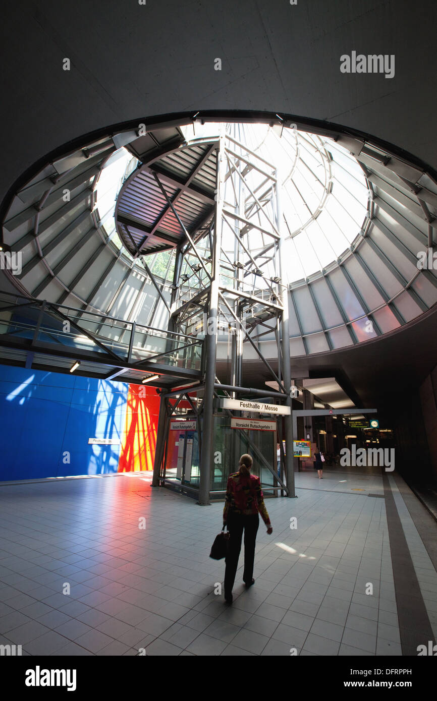 The fair trade metro station in the fair trade district in Frankfurt am Main, Germany, Europe - Stock Image