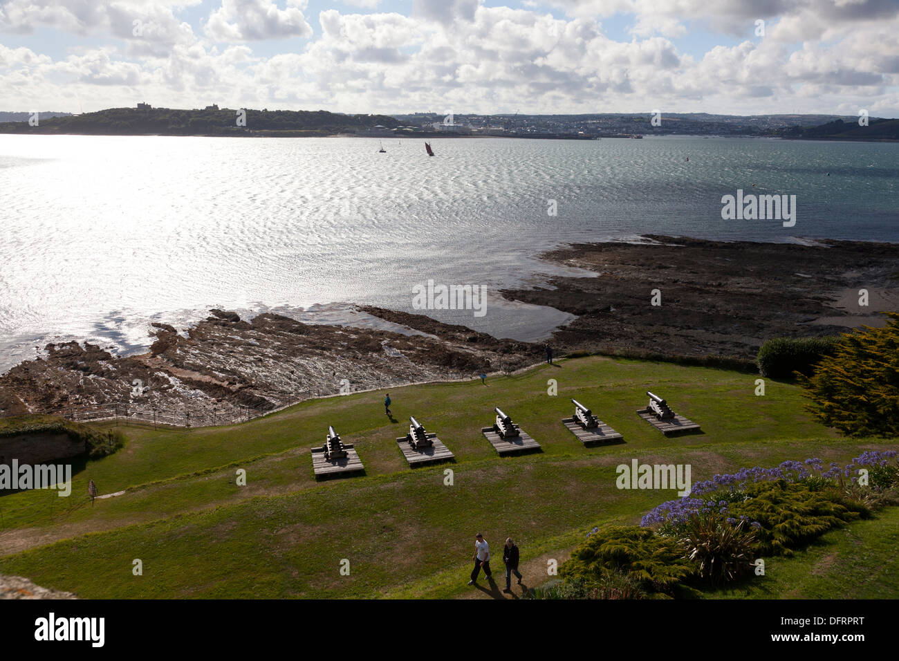 The cannons of St Mawes Castle facing across Carrick Roads,St Mawes, Cornwall - Stock Image