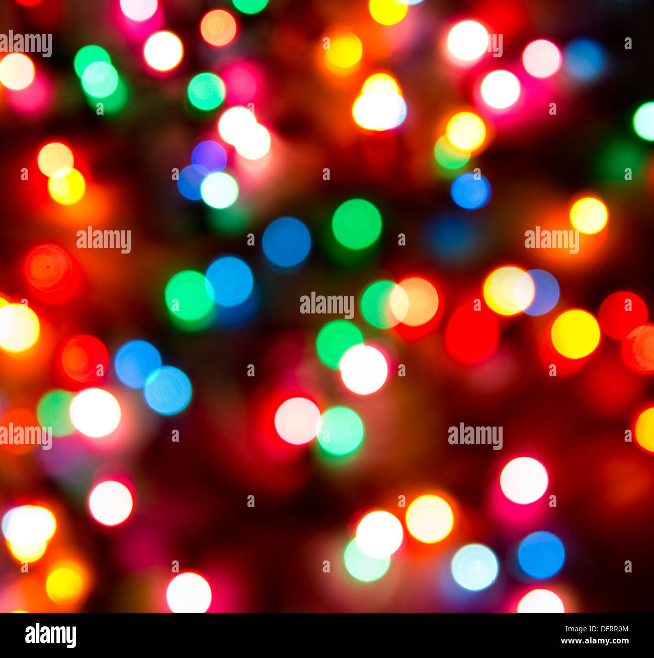 Colorful Christmas Lights Background.Defocused Colorful Christmas Lights Background Stock Photo