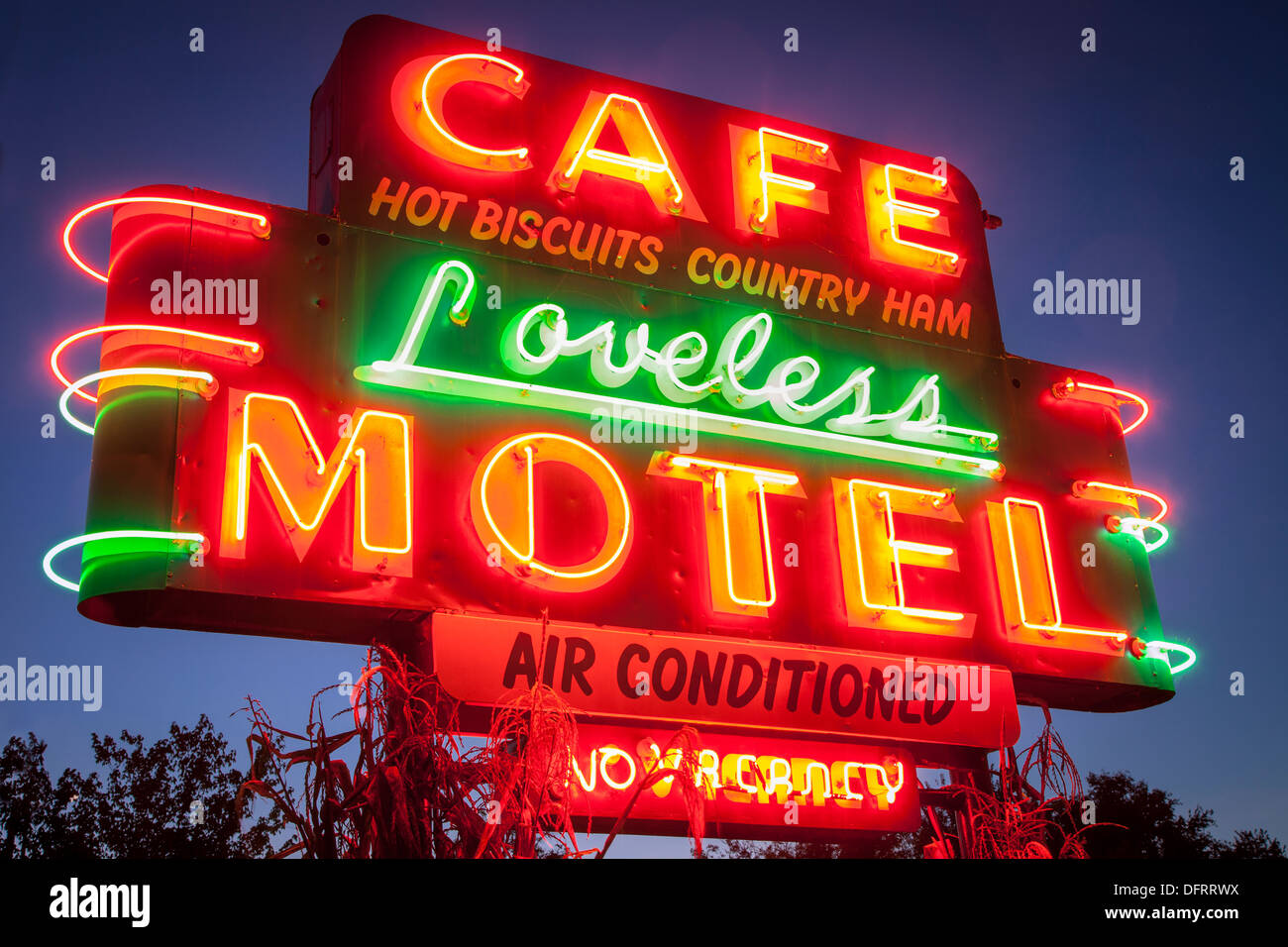 Neon sign outside the famous Loveless Cafe and Motel near Nashville Tennessee, USA - Stock Image