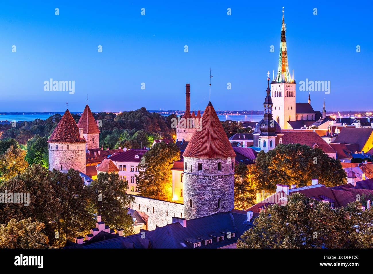 Skyline of Tallinn, Estonia at dusk. - Stock Image