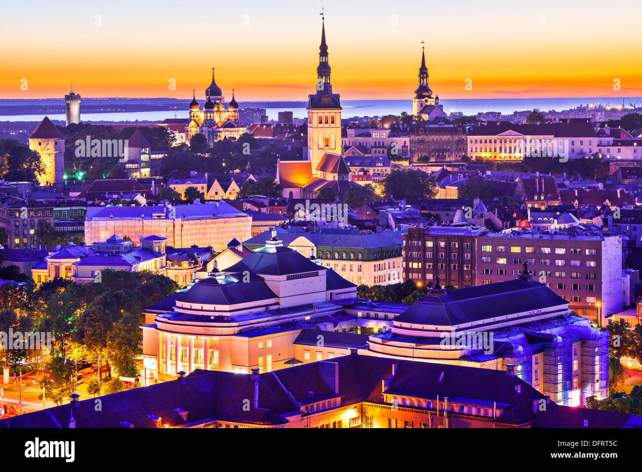 Skyline of Tallinn, Estonia at sunset. - Stock Image