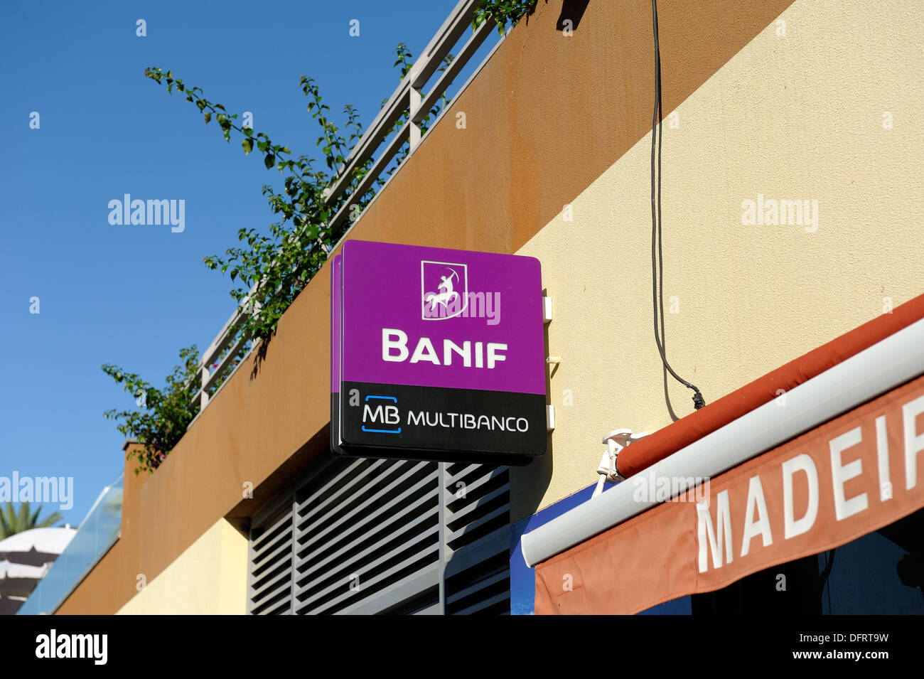 Banif Bank BANIF.LB cash machine sign Madeira Portugal - Stock Image