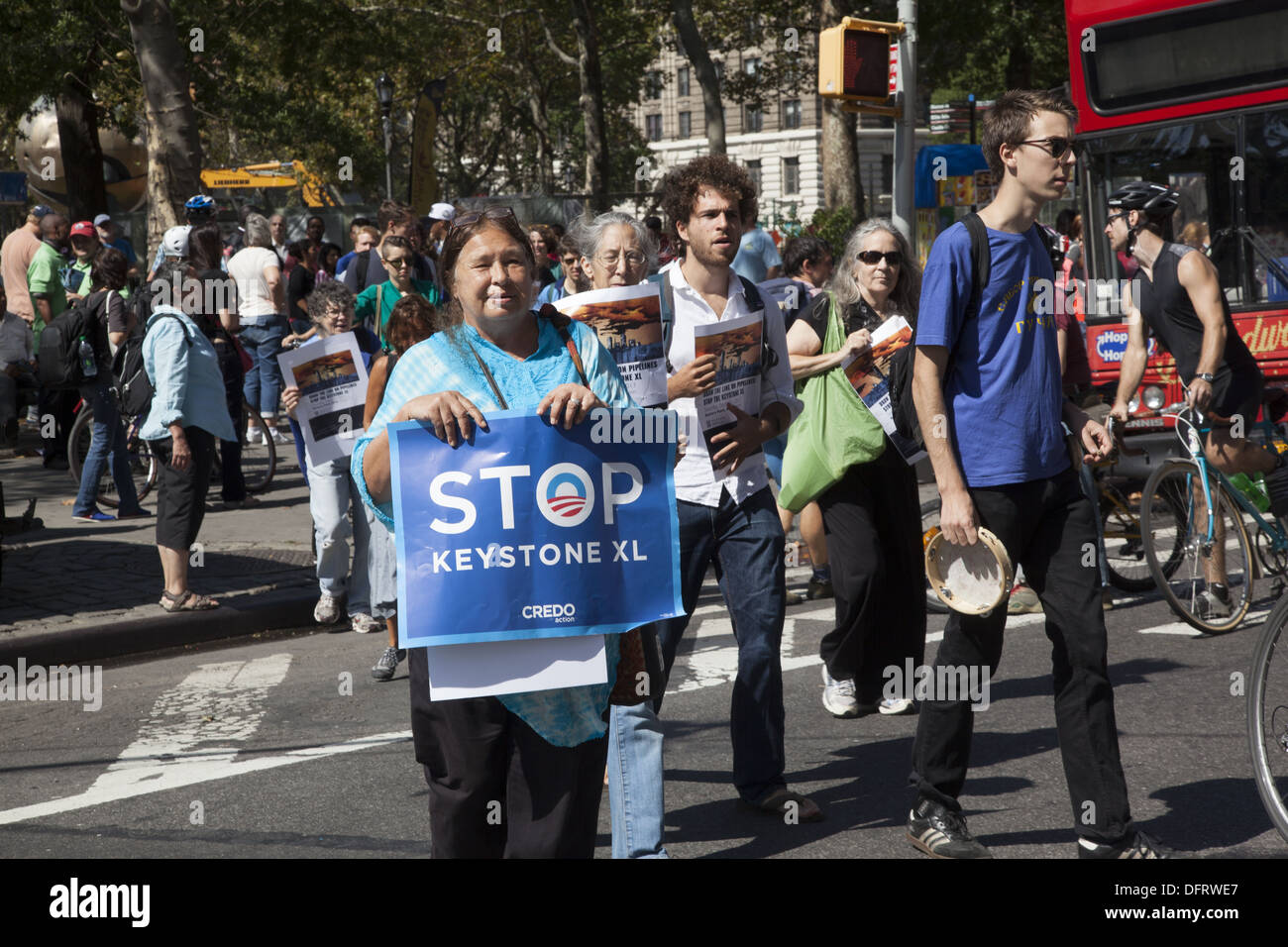 Environmental activists rally in NYC against the Keystone XL Pipeline as well as hydraulic fracking in New York - Stock Image