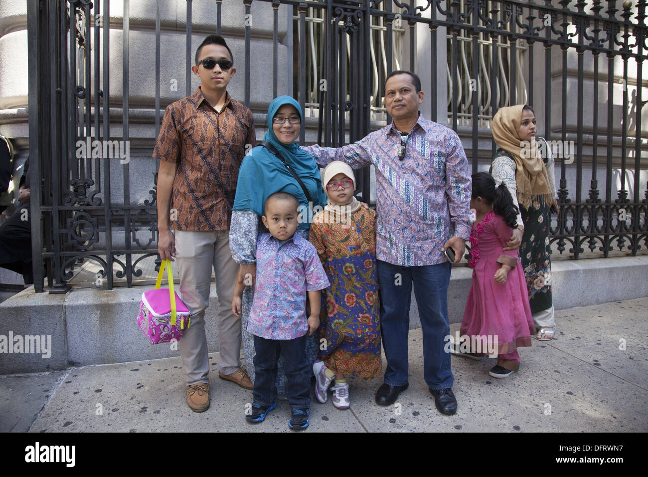 Annual Muslim Day Parade on Madison Avenue, New York City. Indonesian American Family - Stock Image