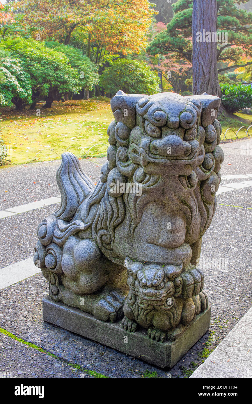 Japanese Komainu Feale Foo Dog Temple Guardian Granite Statue - Stock Image