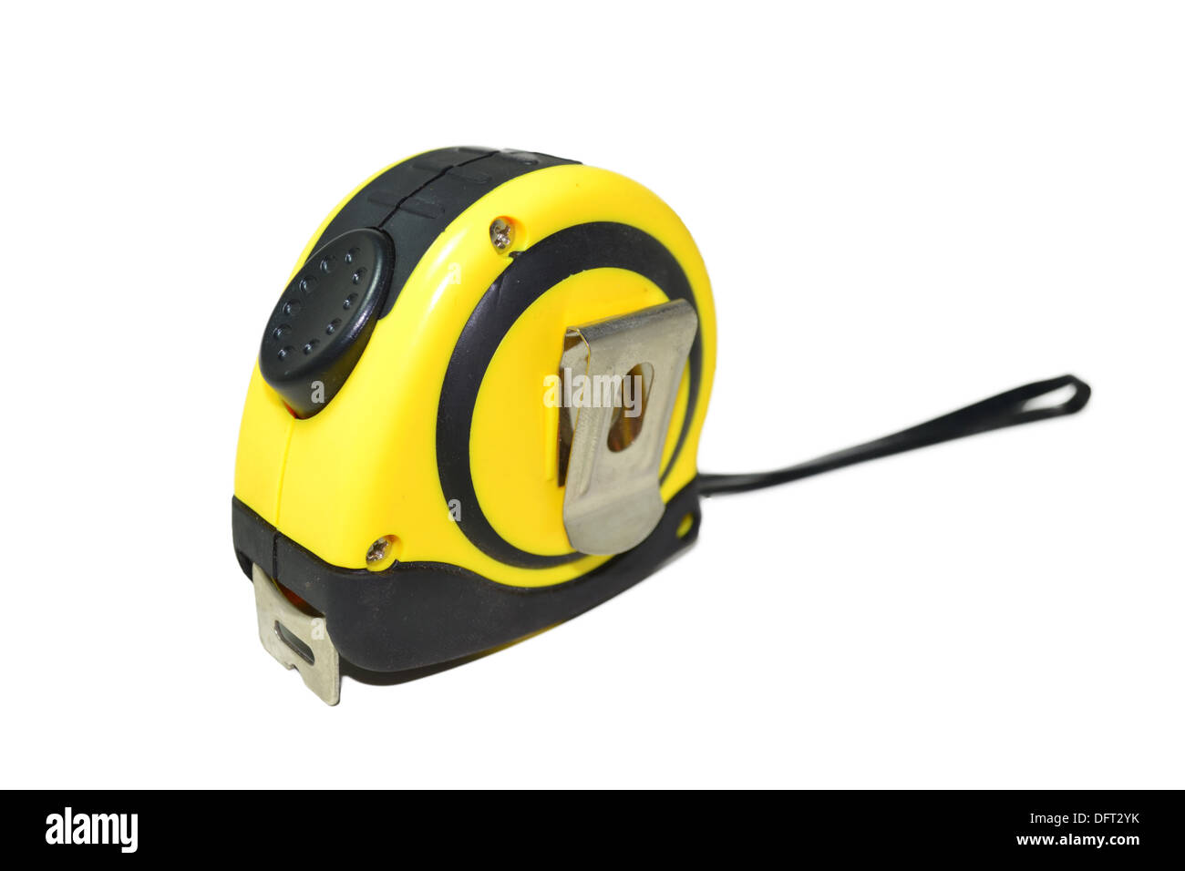 Yellow tape measure on white. - Stock Image