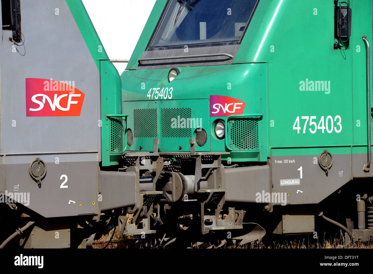two diesel locomotives type BB 475403 of SNCF in railway station Laqueille Puy-de-Dome Auvergne Massif-Central France Europe - Stock Image