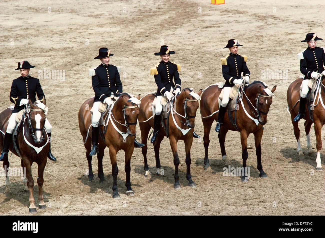 The Carrousel, Cadre Noir Cavalry Academy. Saumur. Val de Loire, France - Stock Image