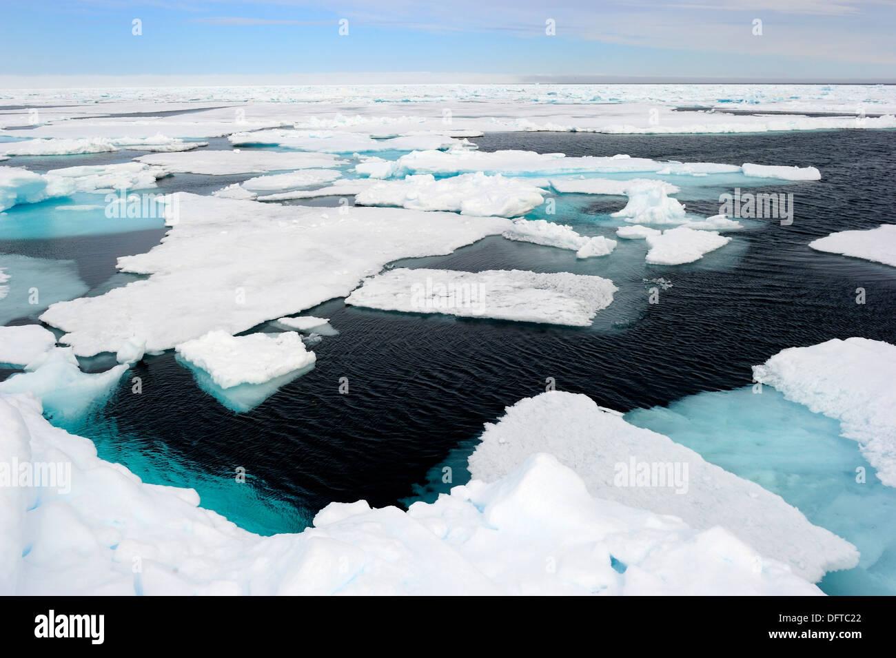 Melting ice, Floe Edge, Arctic Bay, Baffin Island, Nunavut, Canada - Stock Image