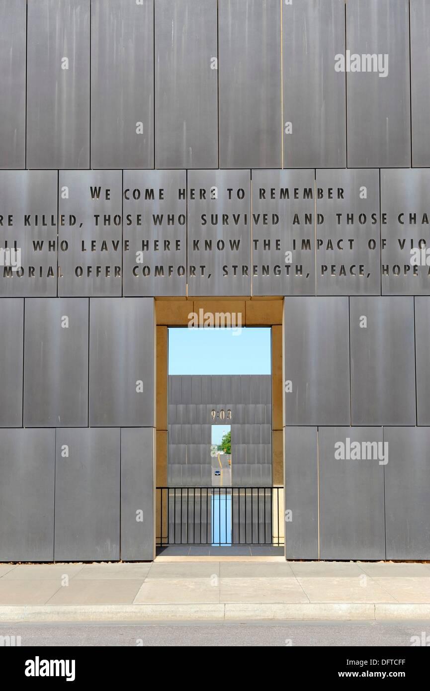 Wall of Oklahoma City National Memorial Bombing Site Alfred P Murrah Building Stock Photo