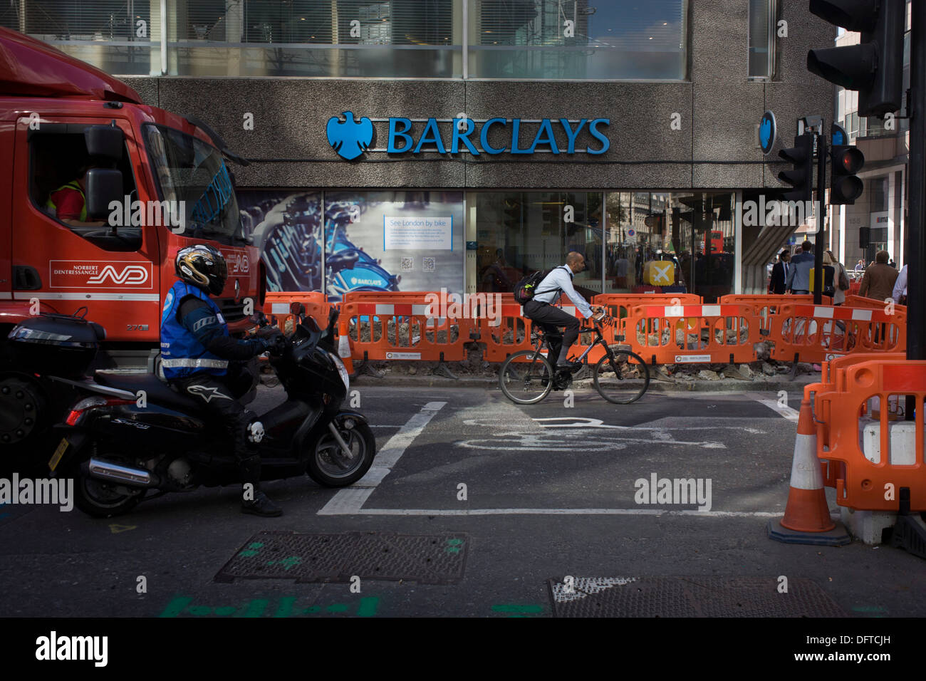 Exterior of the Barclays Bank branch and outside roadworks in Moorgate, City of London. - Stock Image