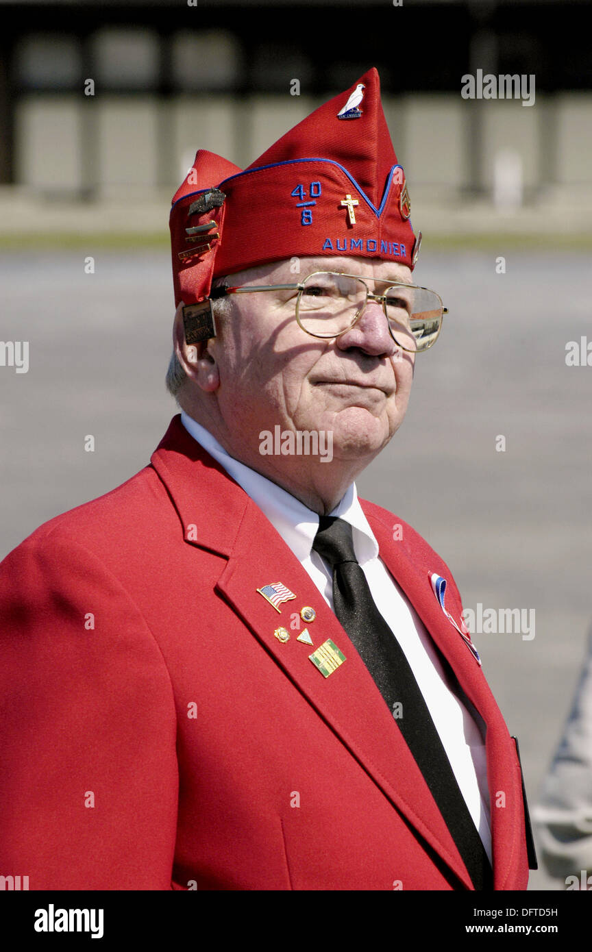 Military veteran take part in Patriots Day parade - Stock Image