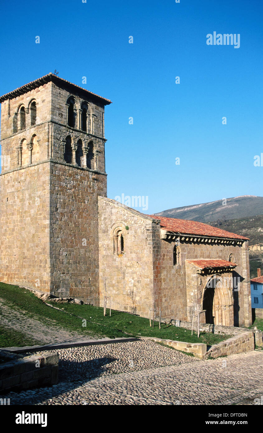 Romanesque collegiate church (XIIth century). Cervatos. Cantabria. Spain. - Stock Image