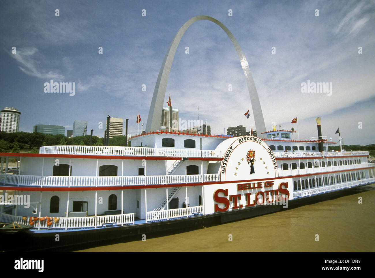 The Steam Powered Paddle Boat Belle Of St Louis Is Moored In From Arch