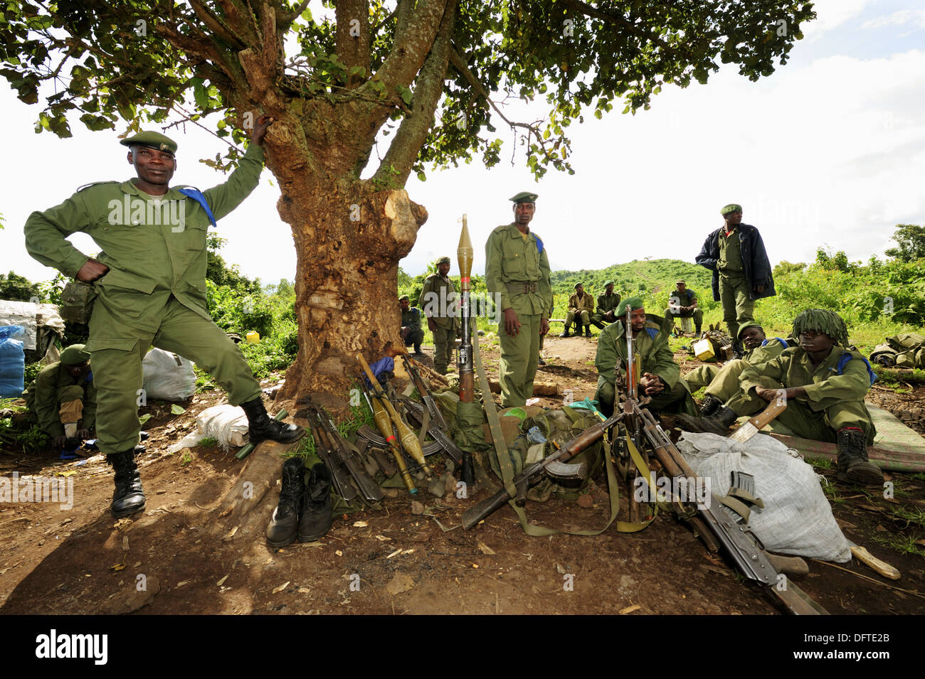 Soldiers from the Congo Army in north Kivu, Democratic republic of Congo, Africa - Stock Image