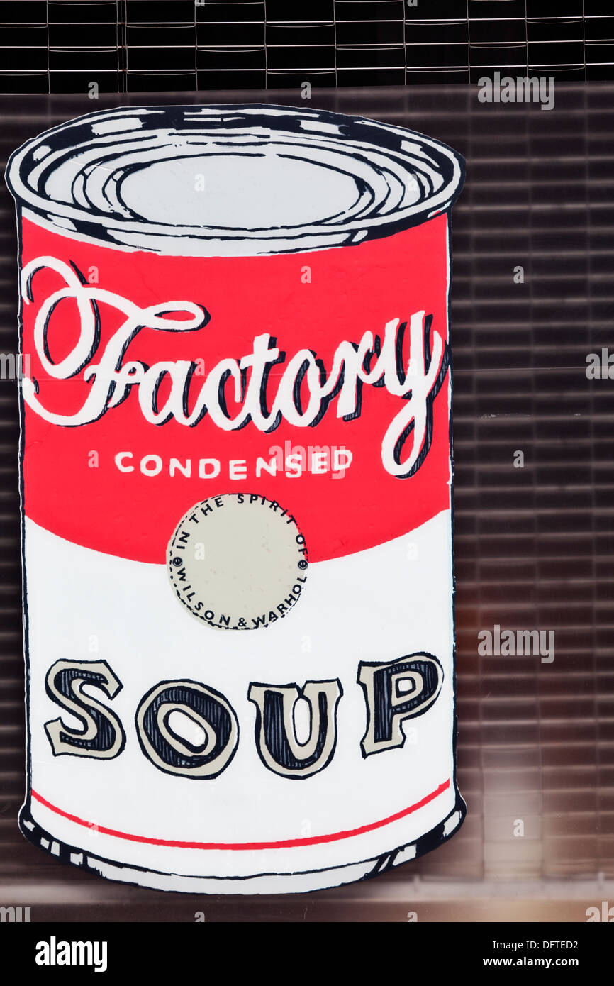 Andy Warhol pop-art poster in window. - Stock Image