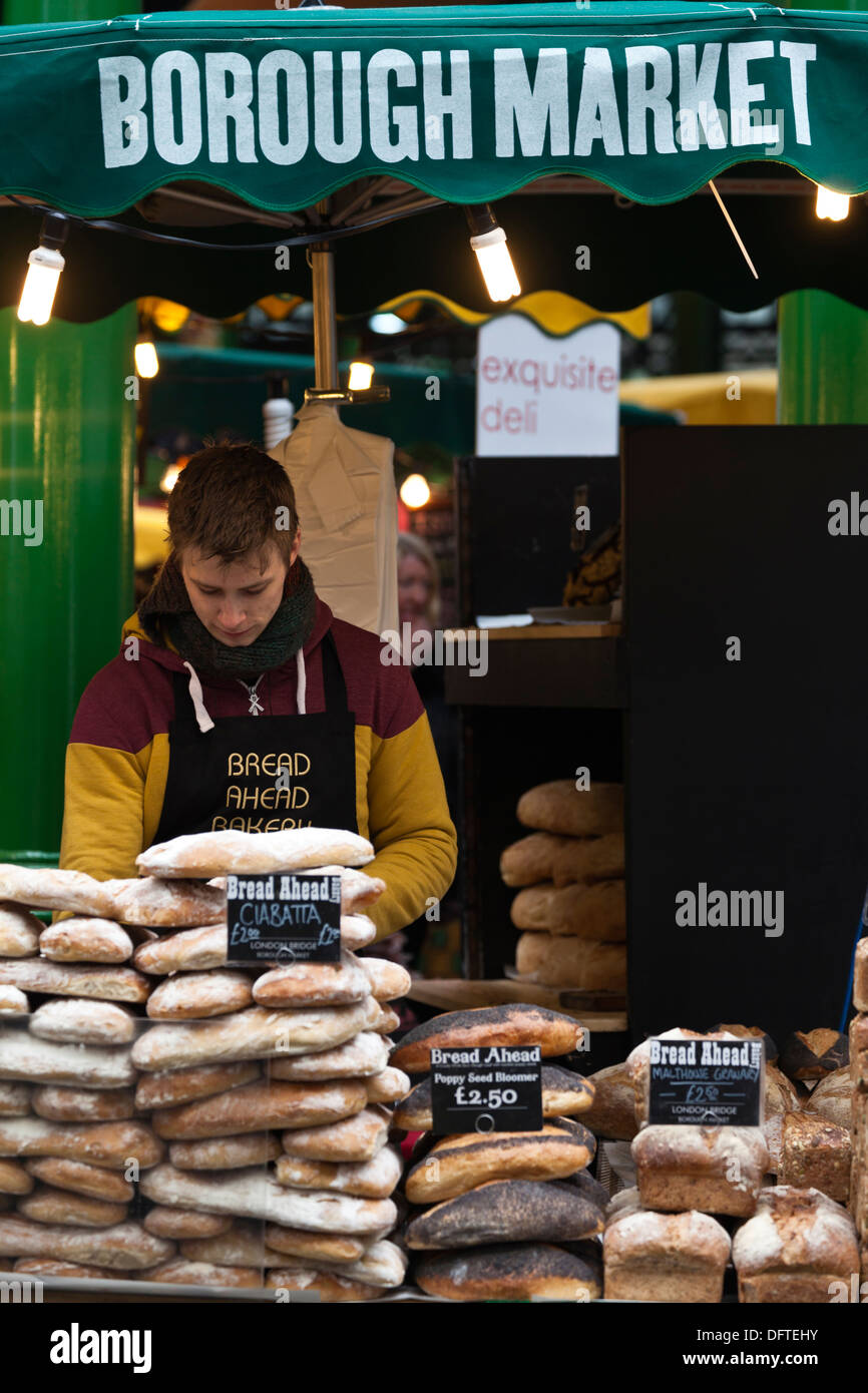 Bakery stall, Borough Market, Southwark, London, England. - Stock Image