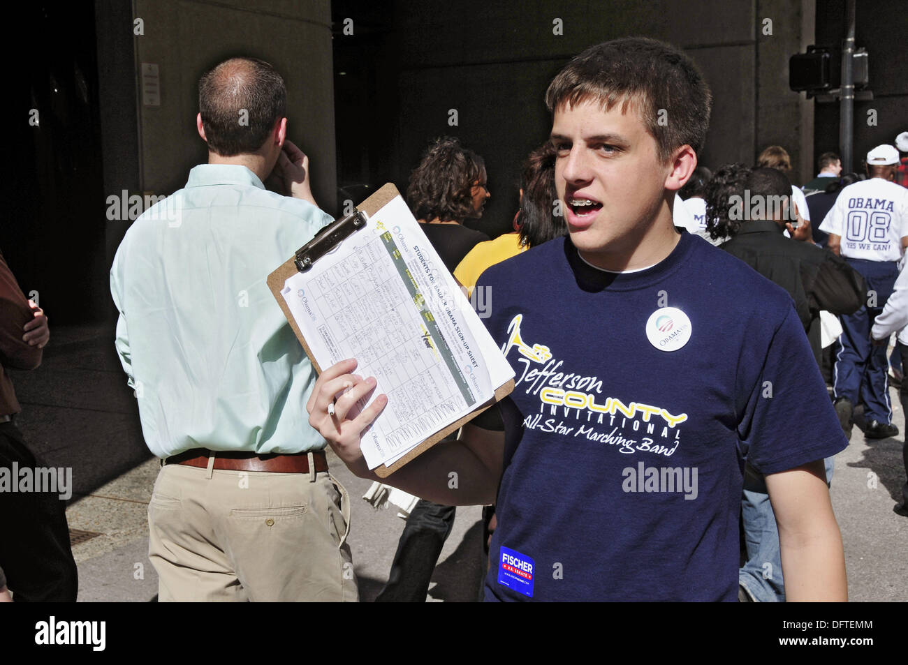 Political demonstrator Louisville Kentucky KY - Stock Image