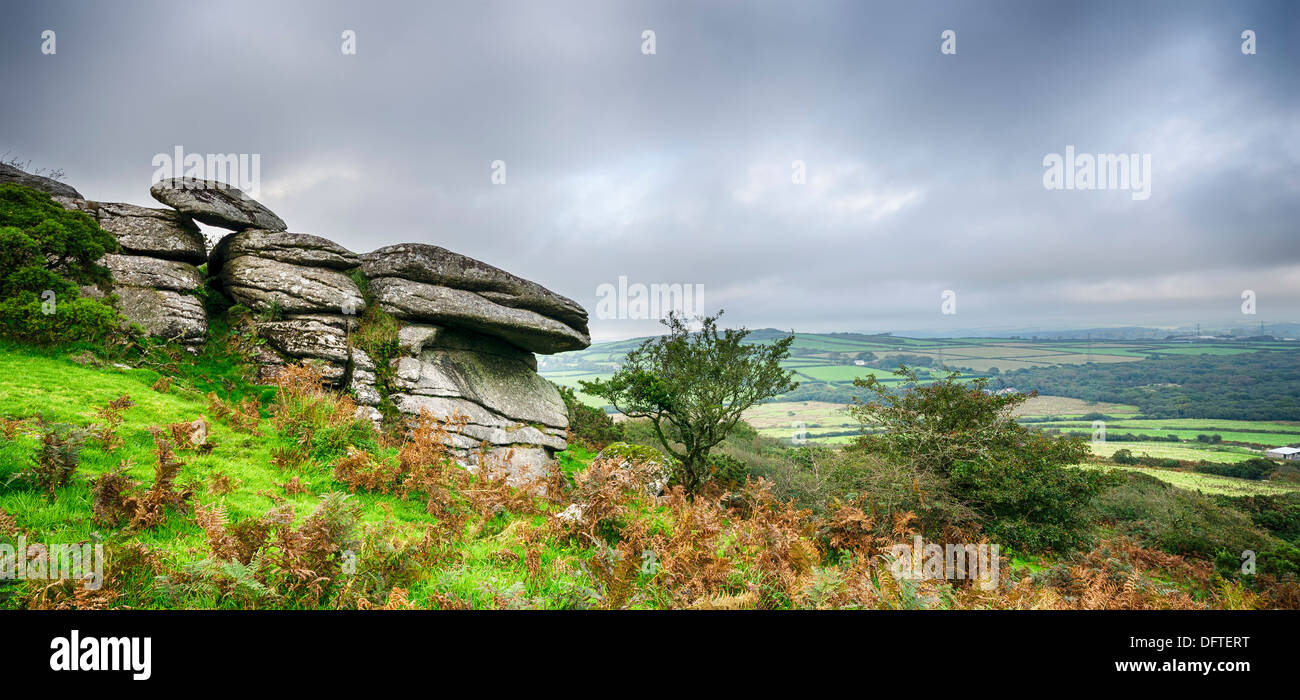 Autumn at Helman Tor in Cornwall, a nature reserve on the moors 2 miles south of Bodmin - Stock Image