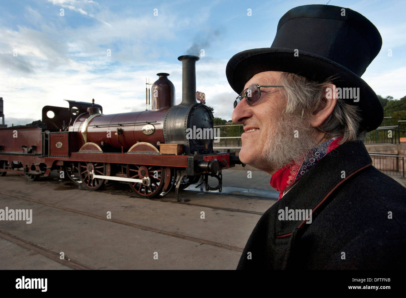 Steam engine driver in period dress for 1860s - Stock Image