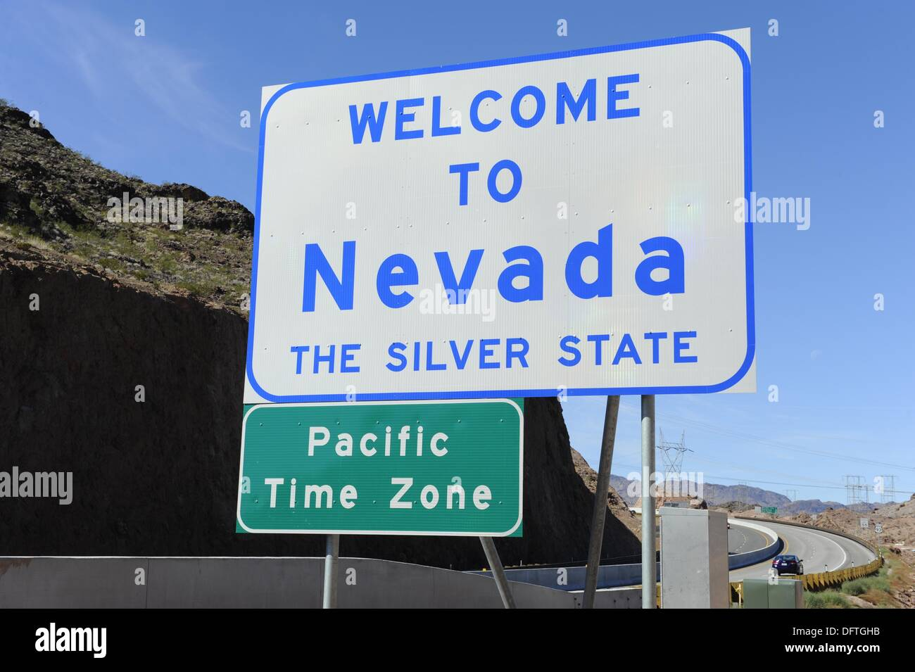 Welcome To Nevada State Border Sign Stock Photo - Image of