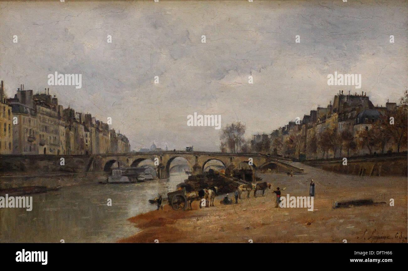 Stanislas LEPINE - Quais des Célestins, avec le pont Marie - 1868 - Orsay Museum - Paris - Stock Image