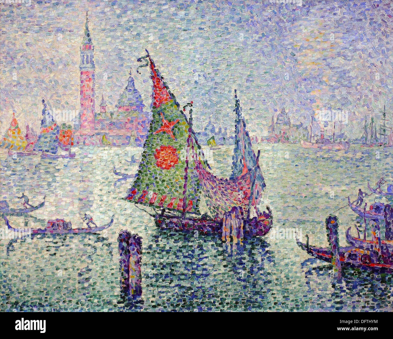 Paul Signac - The Green Sail - 1904 - Orsay Museum - Paris - Stock Image