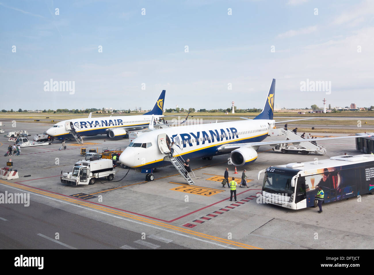 Ryanair airplanes at Bologna airport, Italy - Stock Image