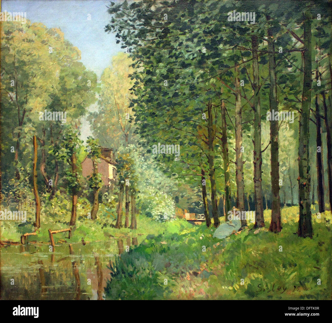 Alfred Sisley - The rest by the brook. Edge of the forest - 1878 - Orsay Museum - Paris - Stock Image