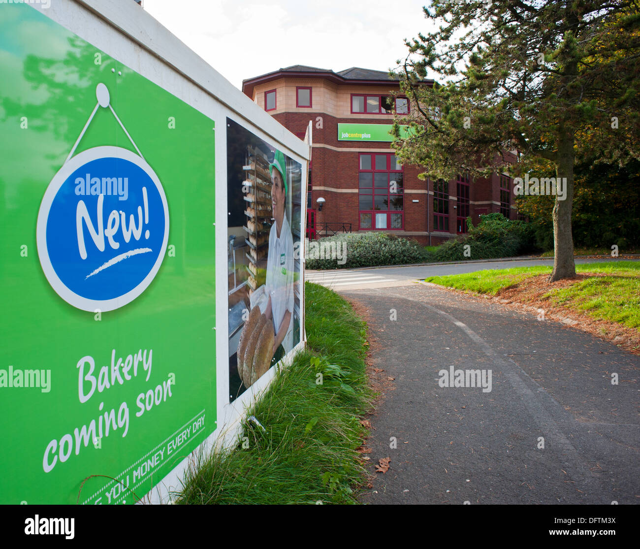 Advertising board for new jobs at ASDA and a Job Centre, Telford, Shropshire, England - Stock Image
