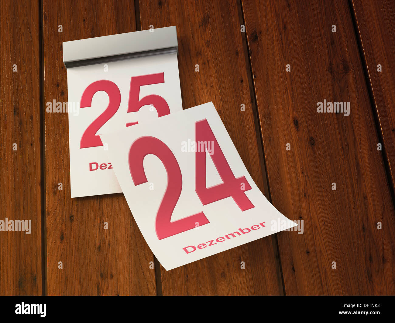 Tear-off calendar with 24th and 25th of december - Stock Image