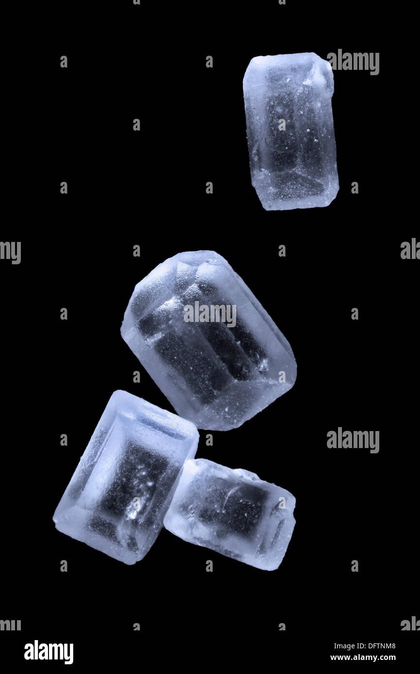 Sugar crystals, ordinary table sugar, photomicrography - Stock Image
