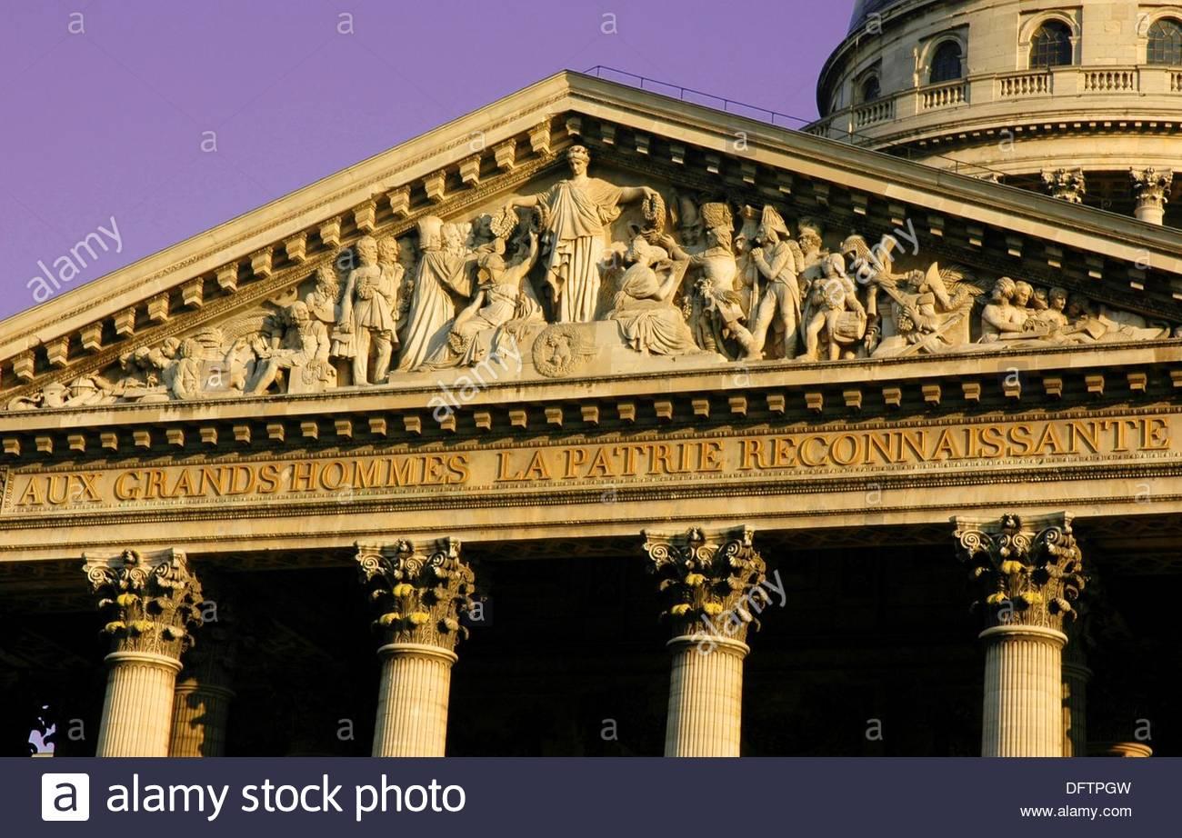 Façade of the Panthéon 1755-92, Paris, France - Stock Image