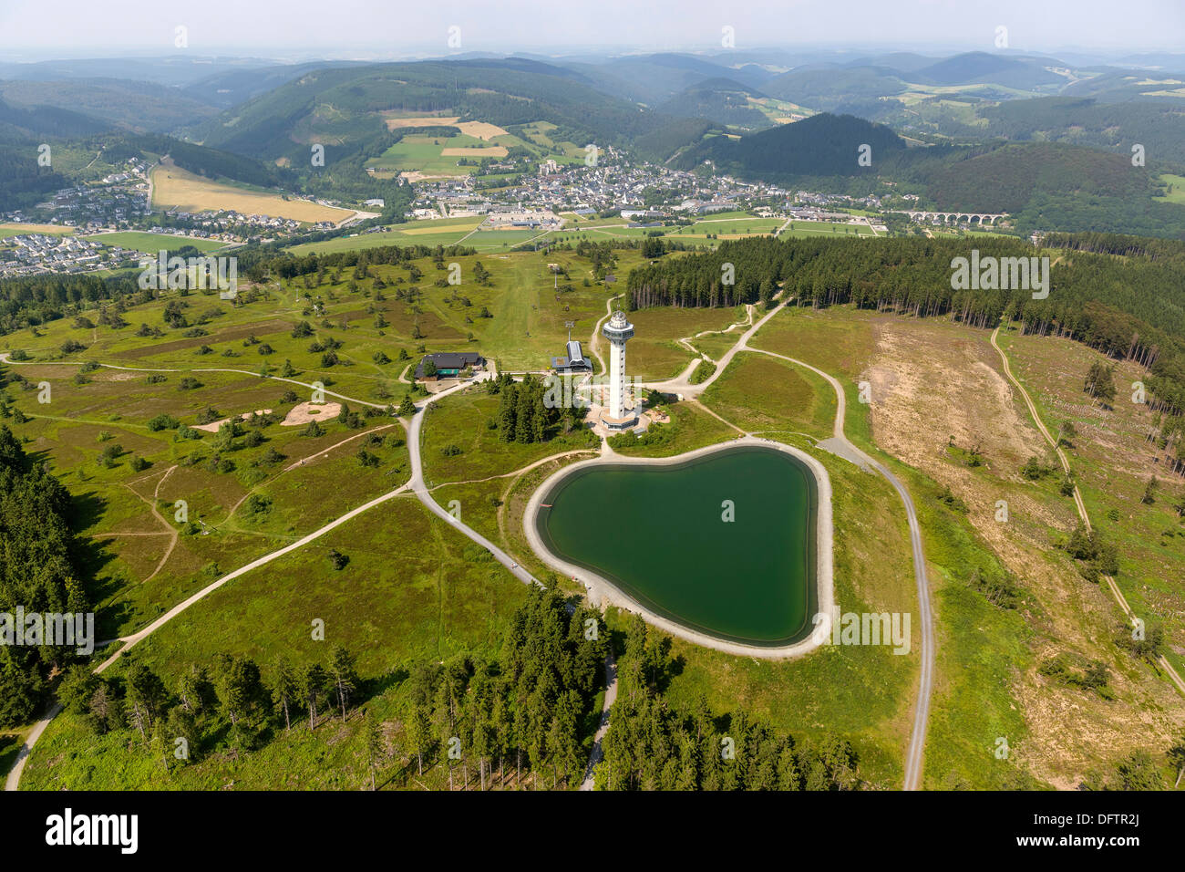 Aerial view, reservoir and Hochheide Tower on Mt Ettelsberg, Effelsberg, Willingen - Upland, Hesse, Germany - Stock Image