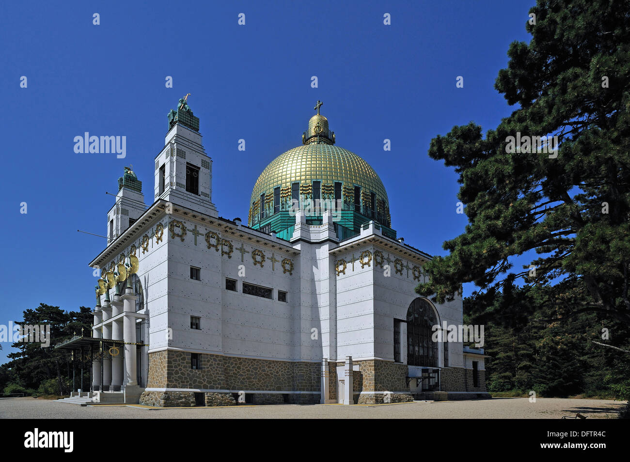 Church of St. Leopold at Steinhof Psychiatric Hospital, built 1904-1907, designed by Otto Wagner, important building of the - Stock Image