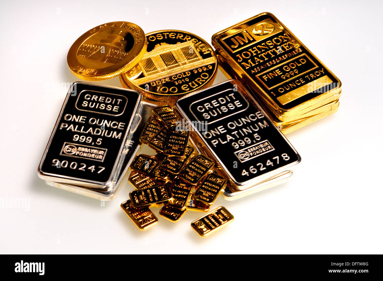 Gold, Palladium and Platinum bullion (plated replicas) - Stock Image
