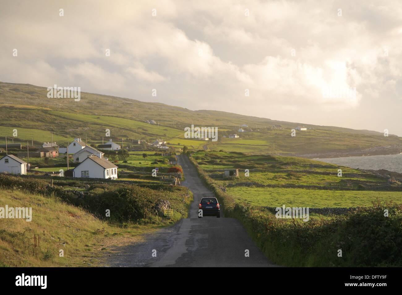 Road to Fanore, Burren coastline, Ireland - Stock Image