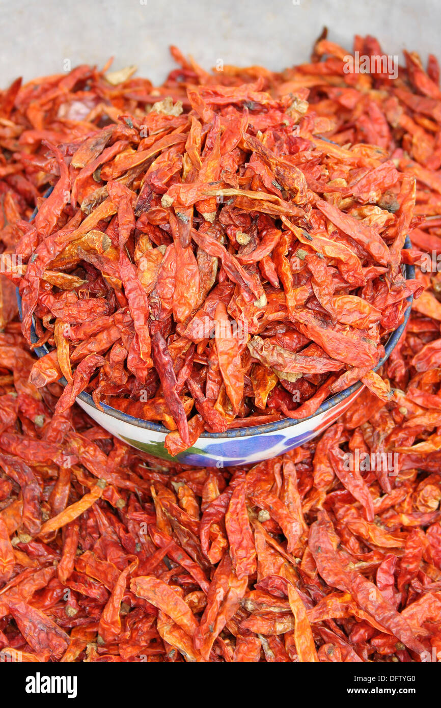 Dried Finger Chillies At A Ghanaian Market In Bolgatanga - Stock Image