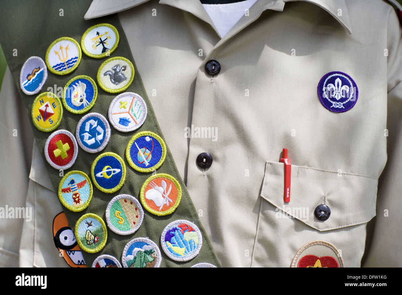 Boy Scout uniform, merit badges, Richmond, Virginia, USA - Stock Image