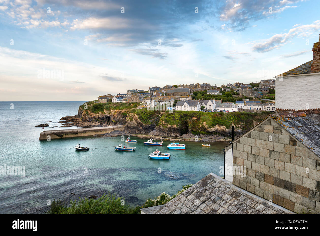 Port Isaac an historic fishing port on the north coast of Cornwall Stock Photo