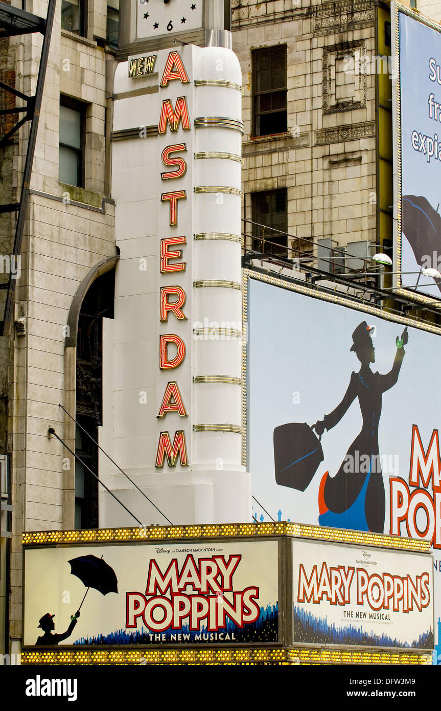 Theater District, 42nd street , Mary Poppins show at the New Amsterdam Theater, New York, USA, 2008 - Stock Image
