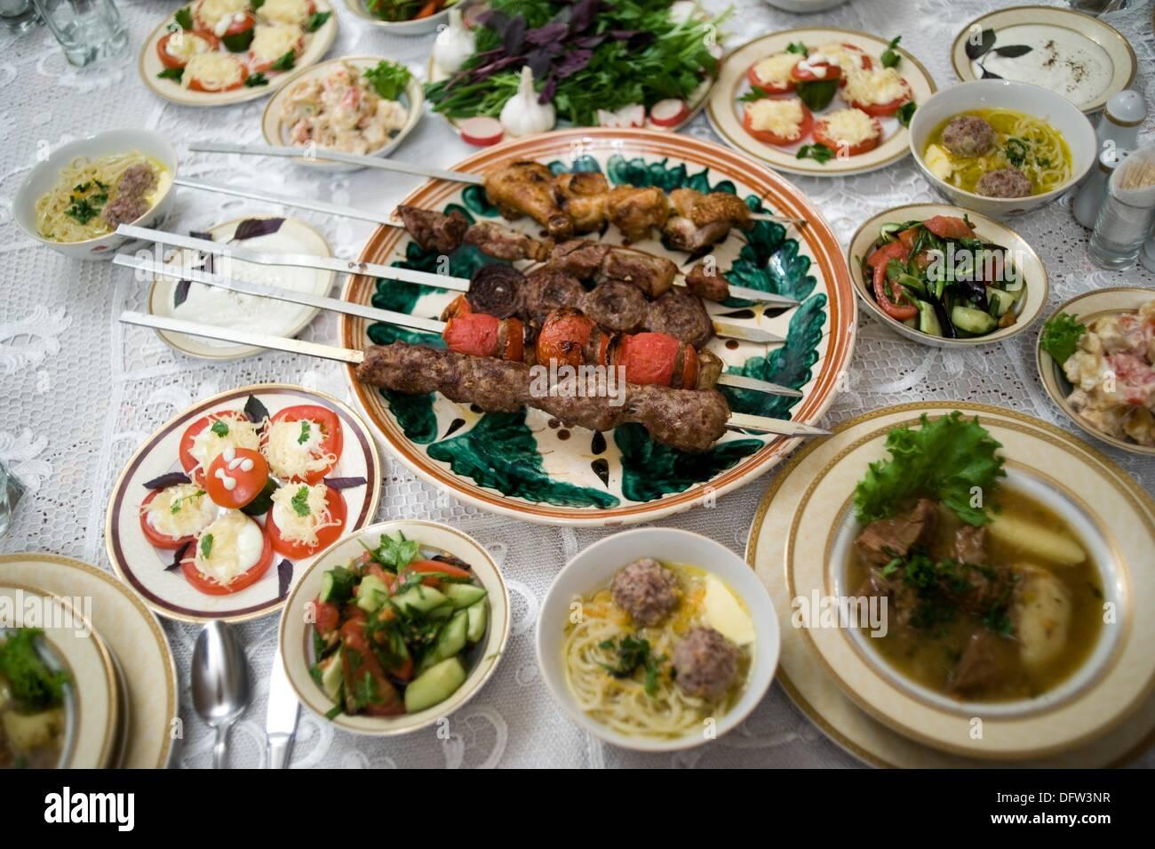 Traditional Food Brochette Samarkand Uzbekistan Stock Photo